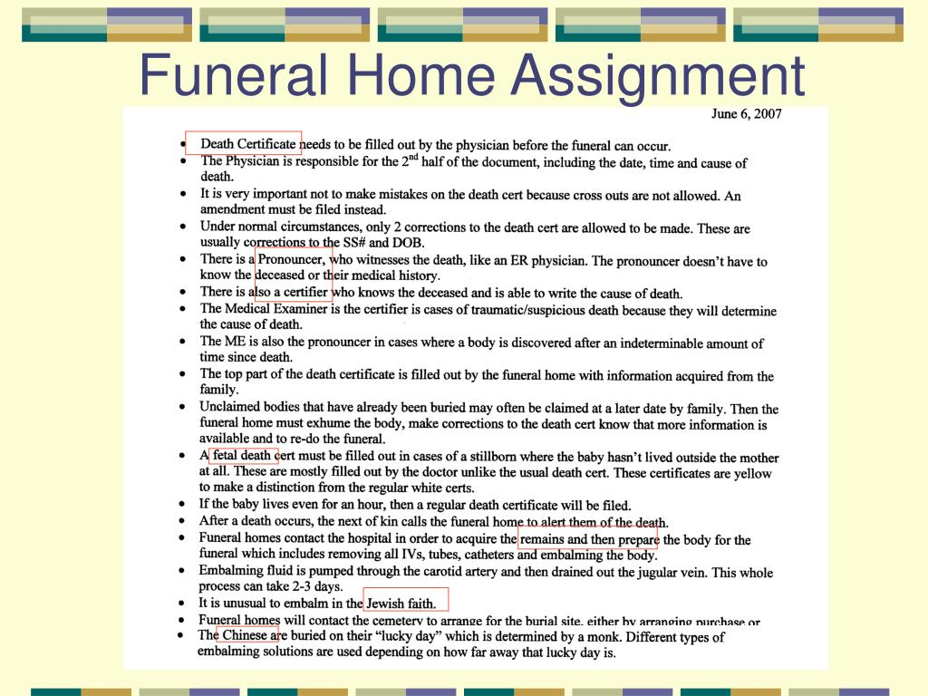 Funeral Home Assignment