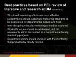 best practices based on pel review of literature and research at um douah et al