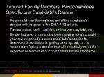 tenured faculty members responsibilities specific to a candidate s review