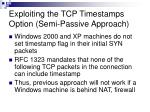 exploiting the tcp timestamps option semi passive approach