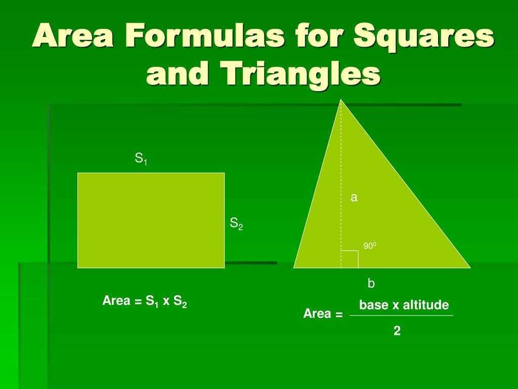 Area Formulas for Squares and Triangles