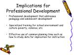 implications for professional development