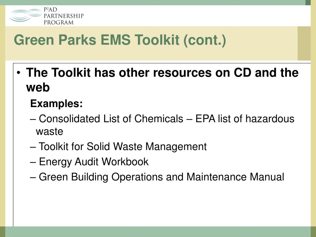 Green Parks EMS Toolkit (cont.)