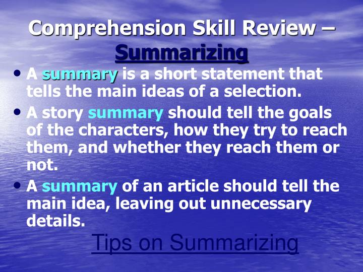 Comprehension Skill Review –