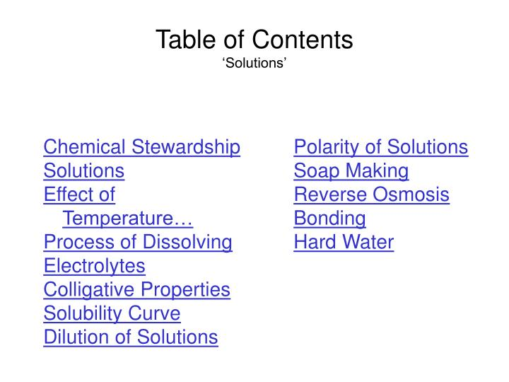Table of contents solutions
