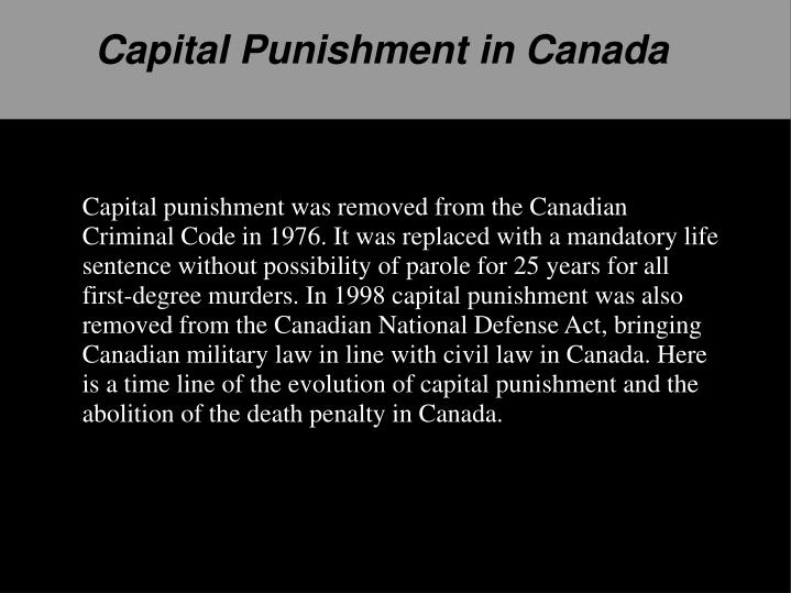 a study on capital punishment in canada and us