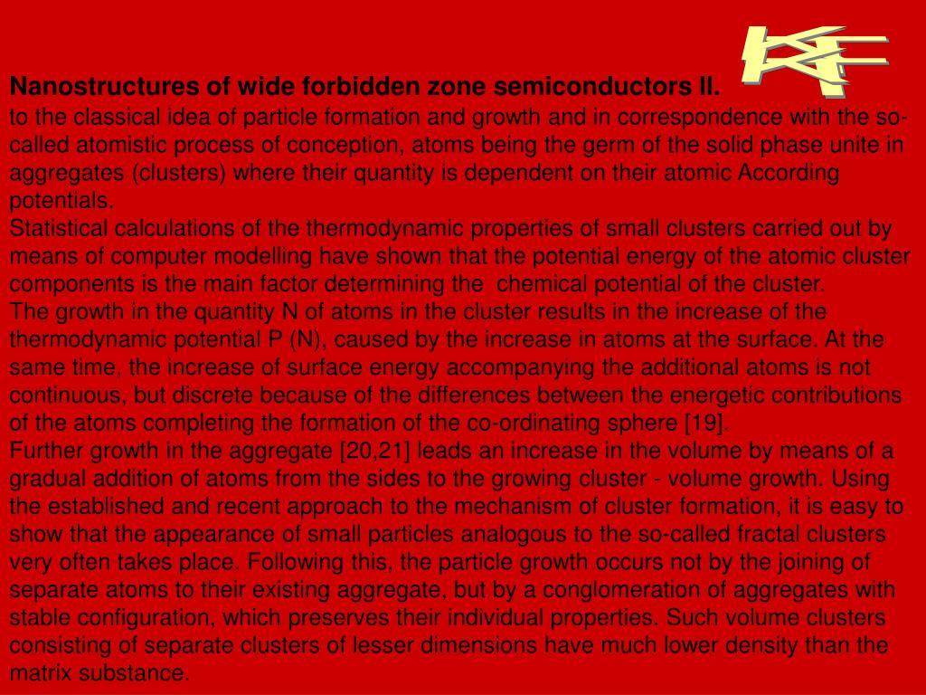 Nanostructures of wide forbidden zone semiconductors II.