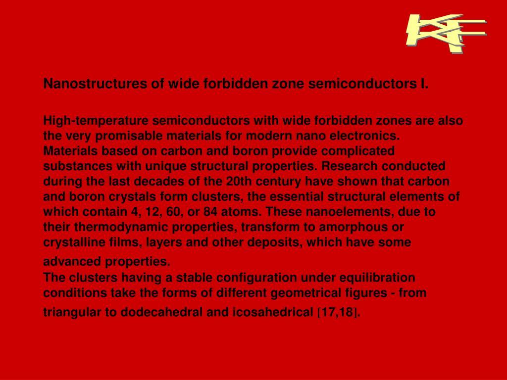 Nanostructures of wide forbidden zone semiconductors I.