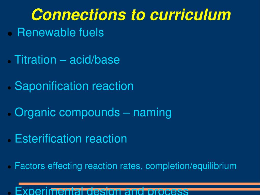 Connections to curriculum