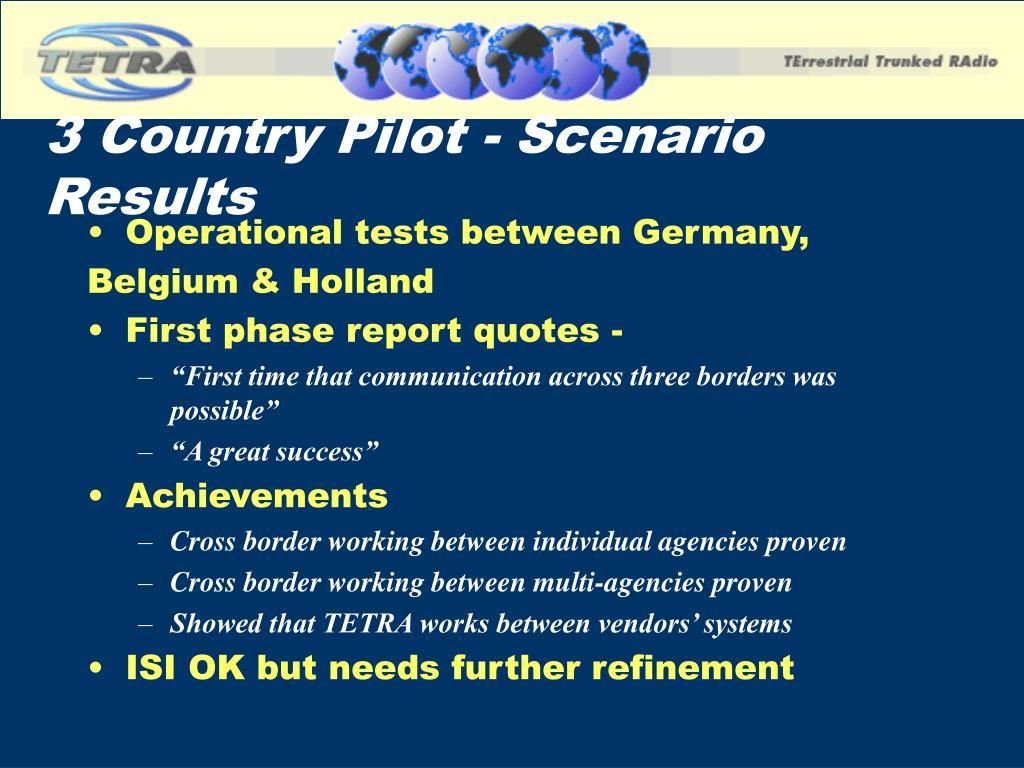 3 Country Pilot - Scenario Results