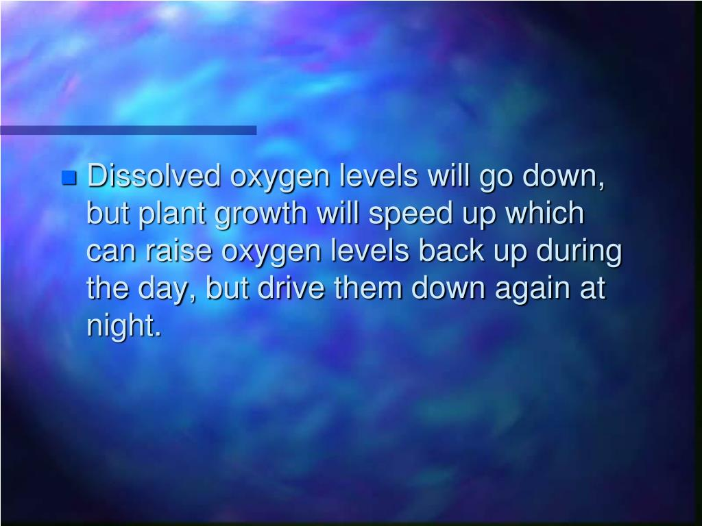 Dissolved oxygen levels will go down, but plant growth will speed up which can raise oxygen levels back up during the day, but drive them down again at night.