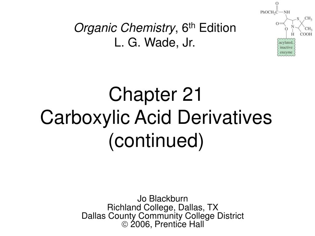 chapter 21 carboxylic acid derivatives continued l.