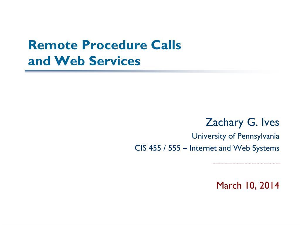 remote procedure calls and web services l.