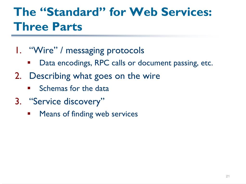 "The ""Standard"" for Web Services: Three Parts"