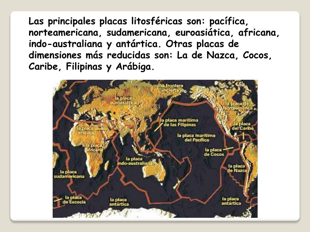 Las principales placas litosféricas son: pacífica, norteamericana, sudamericana, euroasiática, africana, indo-australiana y antártica. Otras placas de dimensiones más reducidas son: La de Nazca, Cocos, Caribe, Filipinas y Arábiga.