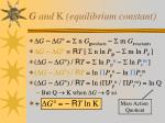 g and k equilibrium constant