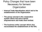 policy changes that have been necessary for farmers organization