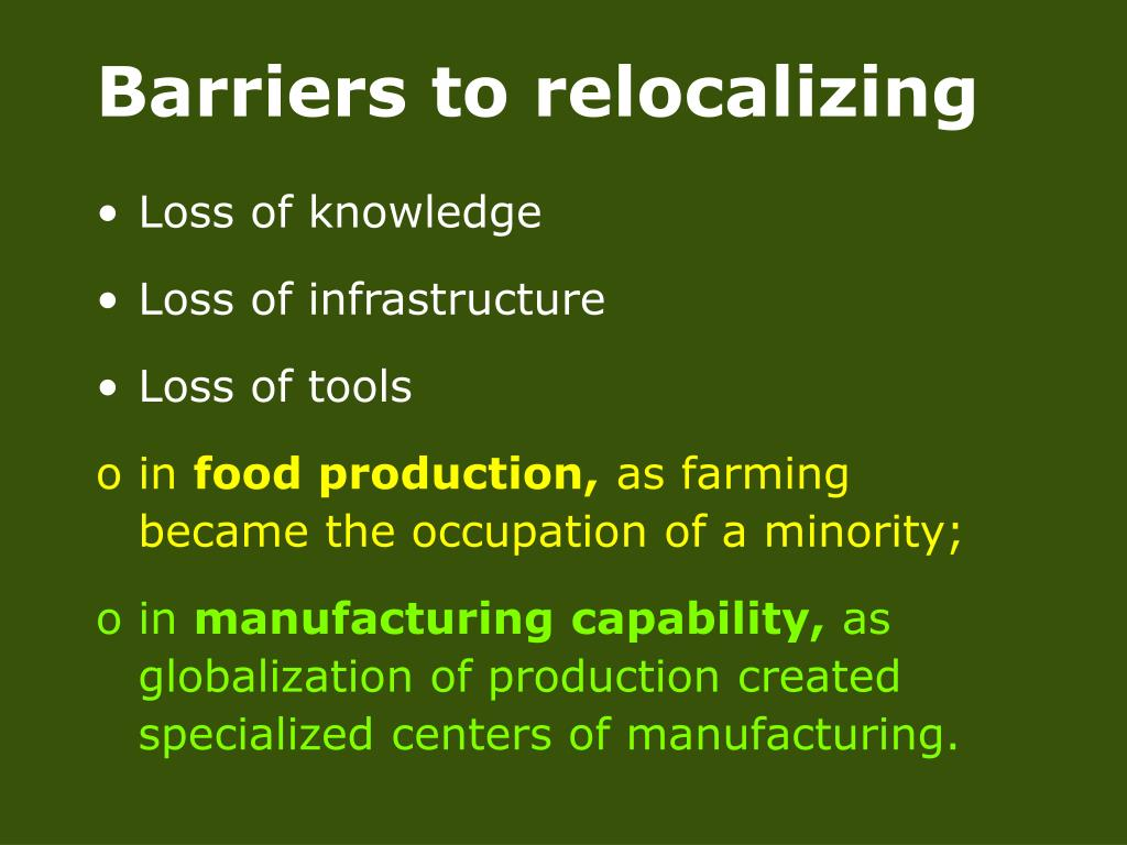 Barriers to relocalizing