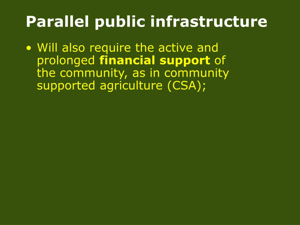 Parallel public infrastructure