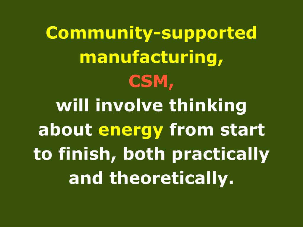 Community-supported manufacturing,