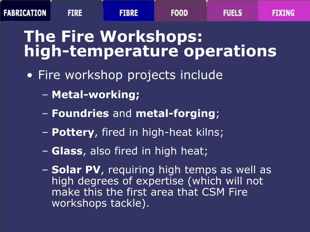 The Fire Workshops: