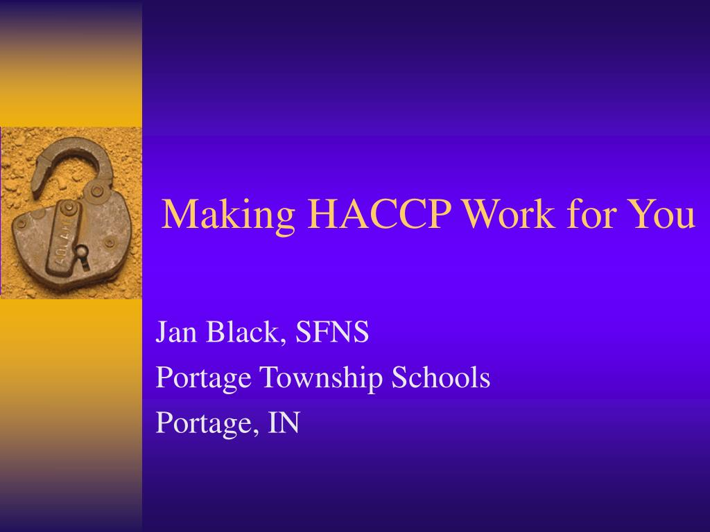 making haccp work for you l.