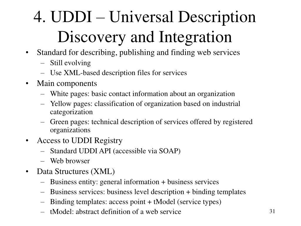 4. UDDI – Universal Description Discovery and Integration
