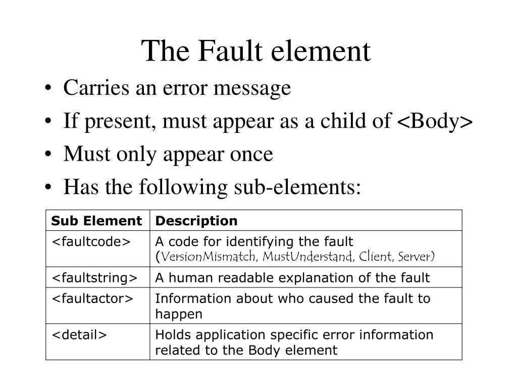 The Fault element
