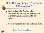 how did you apply to become a freemason
