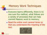 memory work techniques