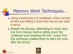 memory work techniques127