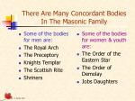 there are many concordant bodies in the masonic family