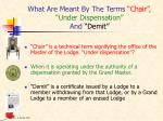 what are meant by the terms chair under dispensation and demit