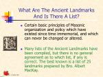 what are the ancient landmarks and is there a list