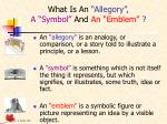 what is an allegory a symbol and an emblem
