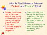 what is the difference between esoteric and exoteric ritual