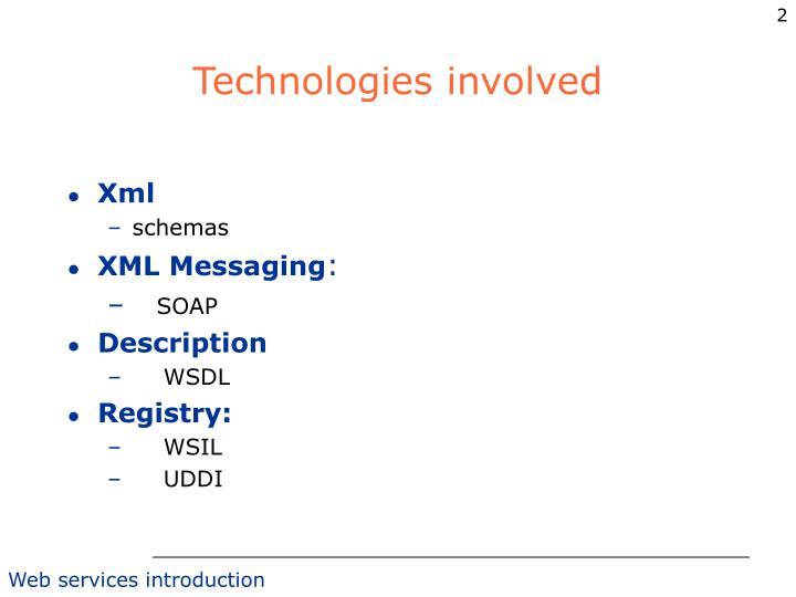 Technologies involved