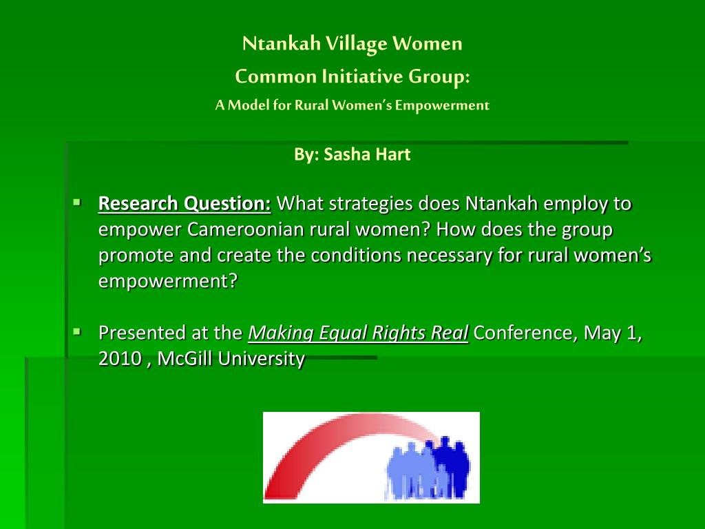 ntankah village women common initiative group a model for rural women s empowerment by sasha hart l.