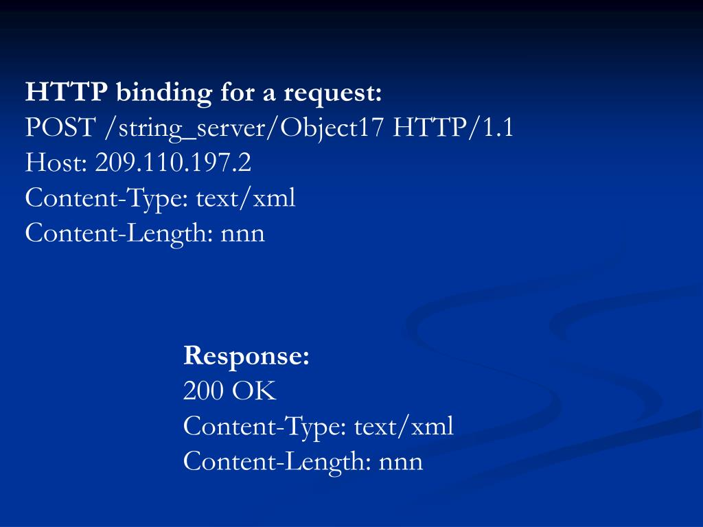 HTTP binding for a request: