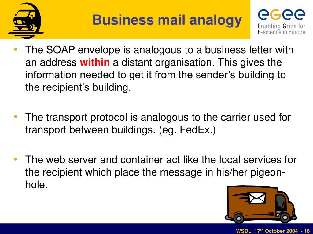 Business mail analogy