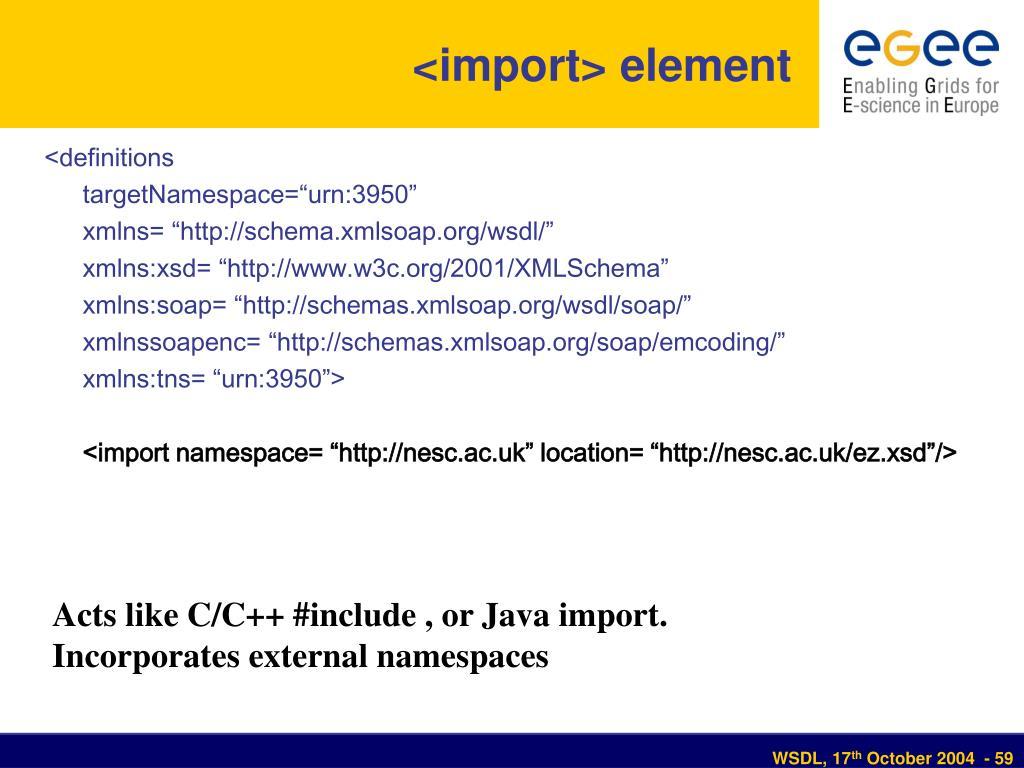 <import> element