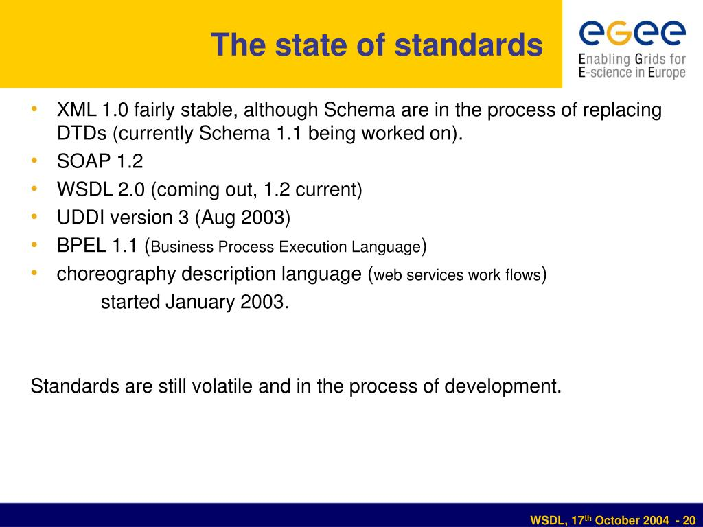 The state of standards