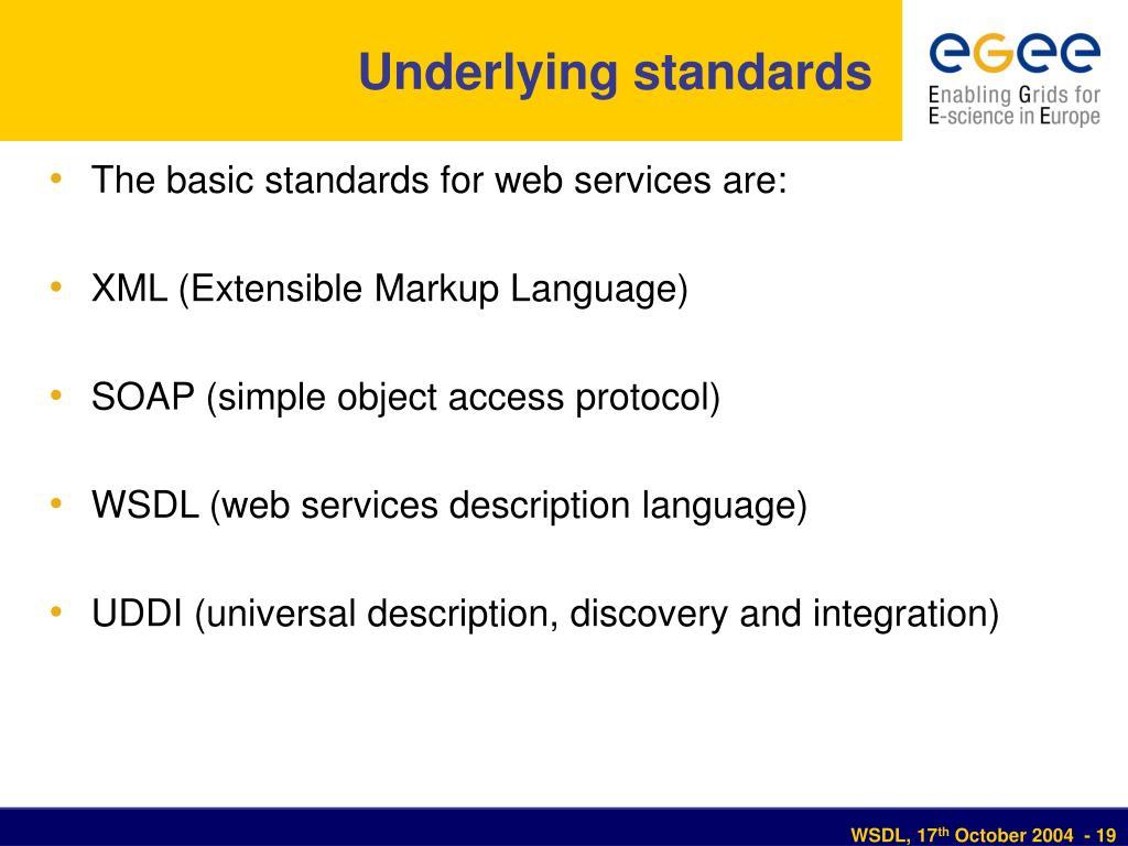 Underlying standards