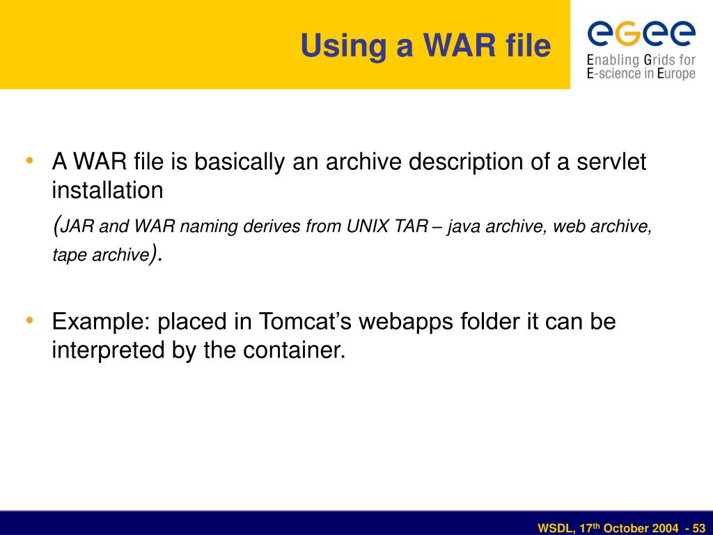 Using a WAR file