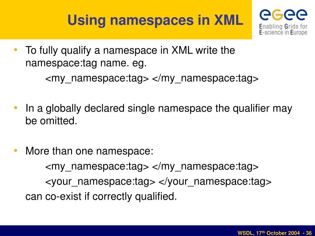Using namespaces in XML