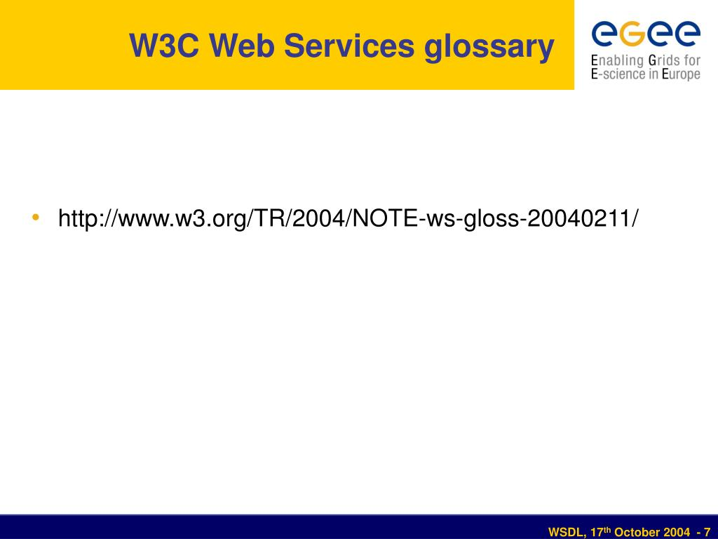 W3C Web Services glossary