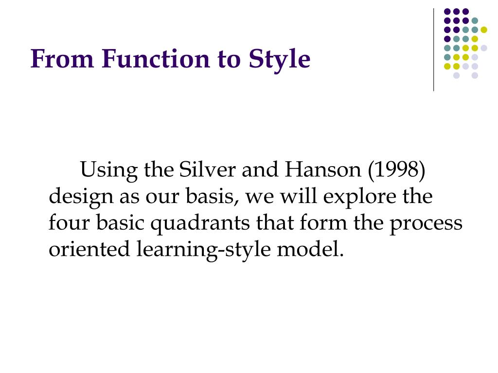 From Function to Style