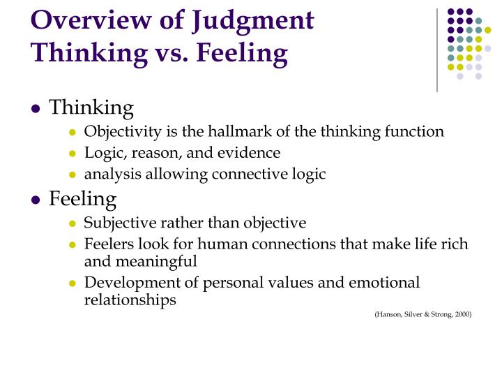 Overview of judgment thinking vs feeling