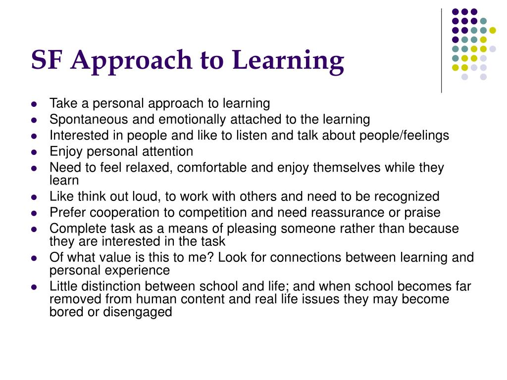 SF Approach to Learning