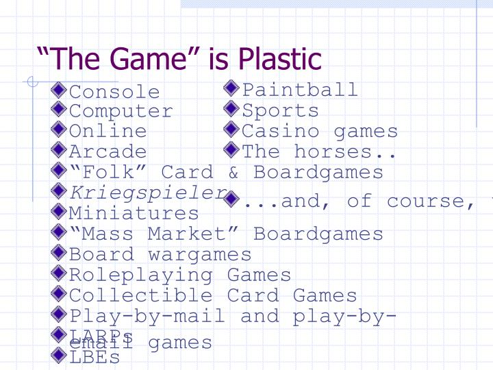 The game is plastic